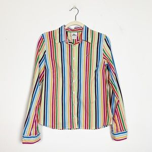Lacoste Rainbow Striped Button-Down Shirt Size 8